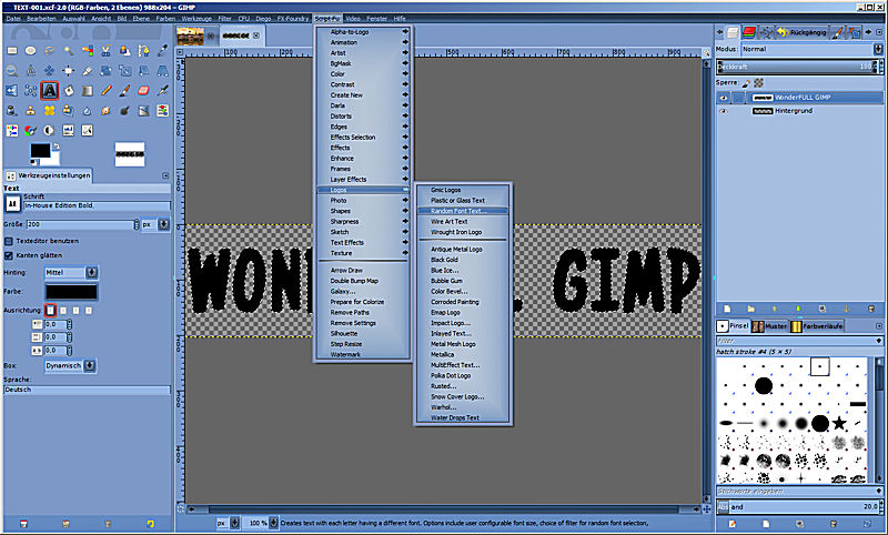 Download Random Font Logo - Random Font Text.scm - GIMP-Werkstatt